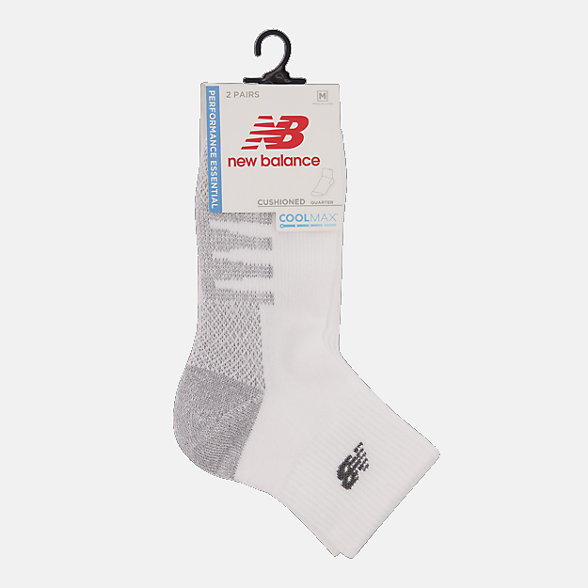New Balance Coolmax Quarter Socks 2 Pair, LAS70332WT