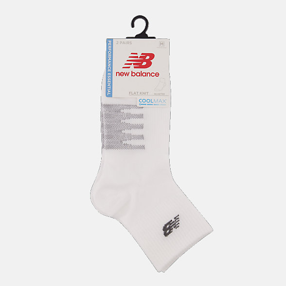New Balance Coolmax Thin Quarter Socks 2 Pair, LAS70432WT