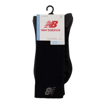 New Balance Coolmax Crew Sock 2 Pair, Black