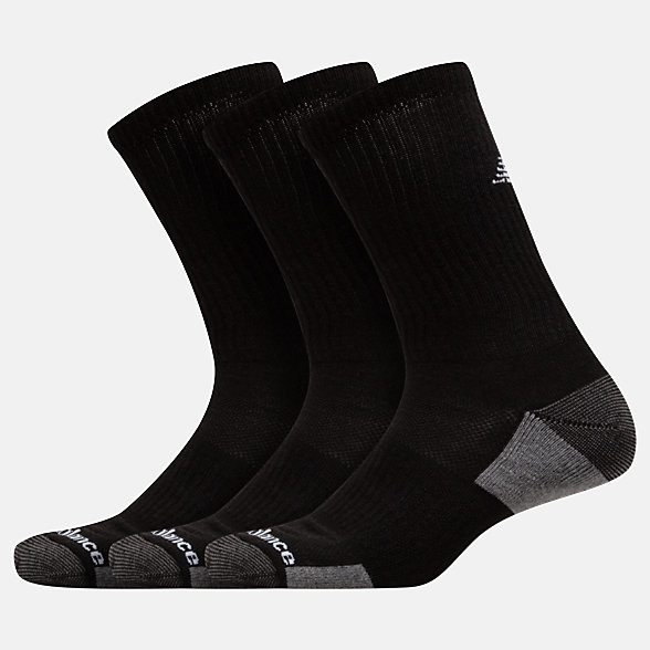 NB Essentials Cushioned Crew Socks 3 Pack, LAS83363BK