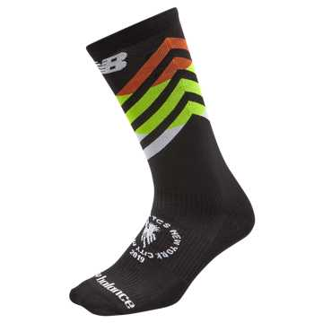 New Balance NYC Marathon Crew Sock, Black with White & Multi Color