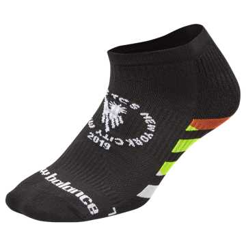 New Balance TCS NYC Marathon No Show Sock, Black with White & Multi Color