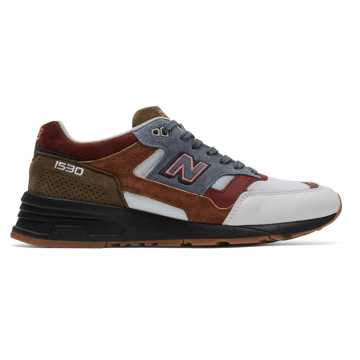 New Balance Made in UK 1530 Scarlet Stone, White with Grey & Burgundy