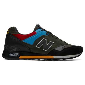New Balance Made in UK 577 Urban Peak, Black with Dark Olive & Blue