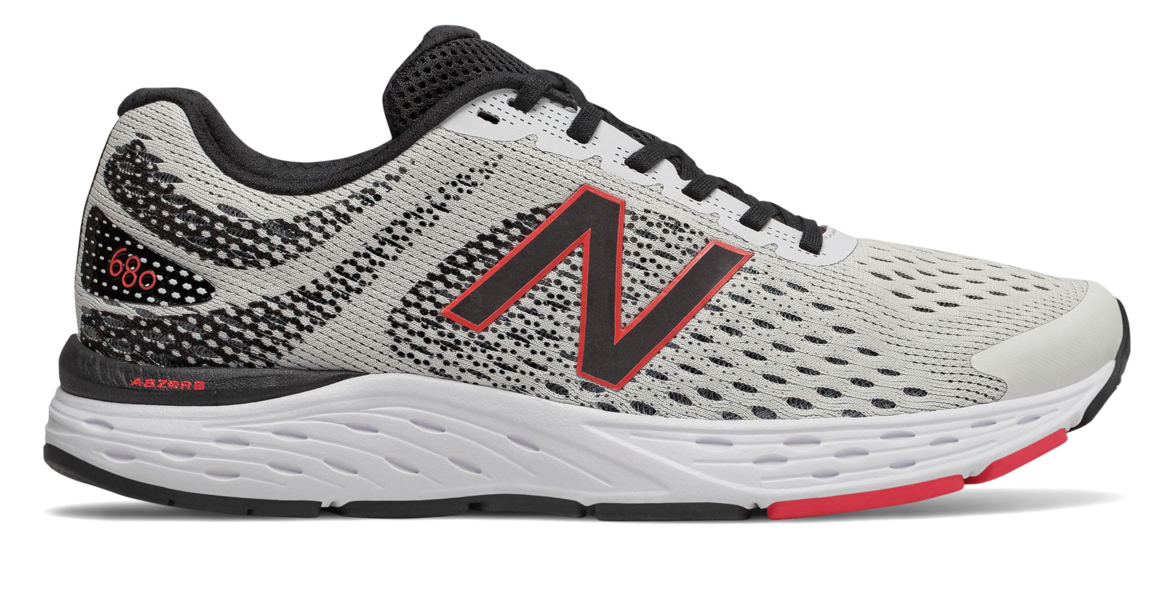 Gray//Black//Red New Balance 680v6 Men/'s Running Shoe M680CR6