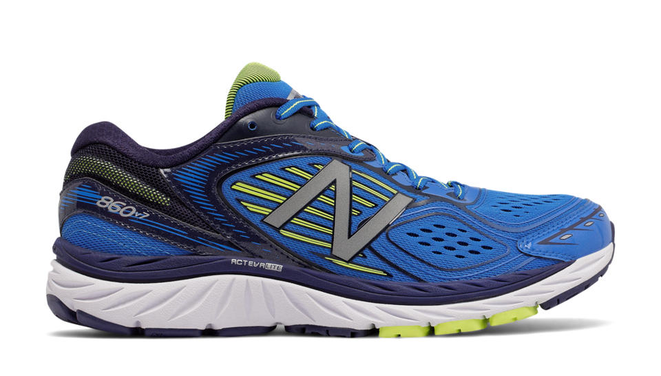 new balance blue. new balance 860v7, blue with yellow e