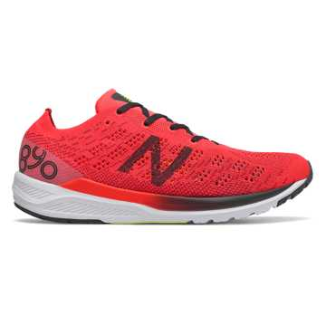 New Balance 890v7, Energy Red with Black & Bleached Lime Glo
