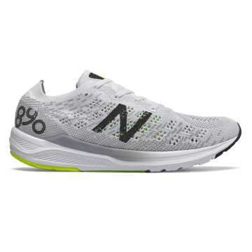 New Balance 890v7, White with Black & RGB Green