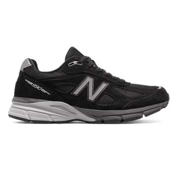 New Balance Mens 990v4 Made in US, Black with Silver