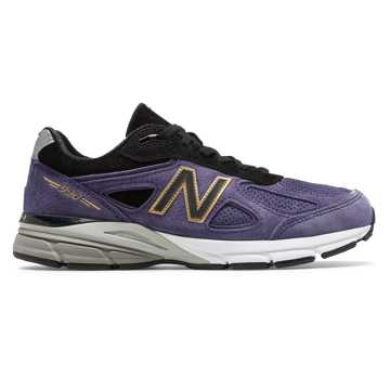 New Balance Mens 990v4 Made in US, Black with Wild Indigo