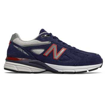 New Balance Mens 990v4 Made in US, Pigment with Red
