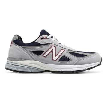 New Balance Mens 990v4 Made in US, Grey with Navy