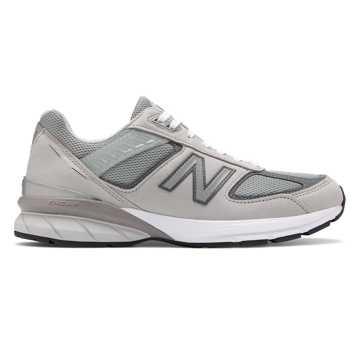 New Balance 990V5美国原产男款高级牛皮革复古运动鞋, 灰色