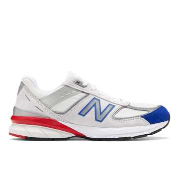 New Balance Mens 990v5 Made in US, Nimbus Cloud with Team Royal & Team Red