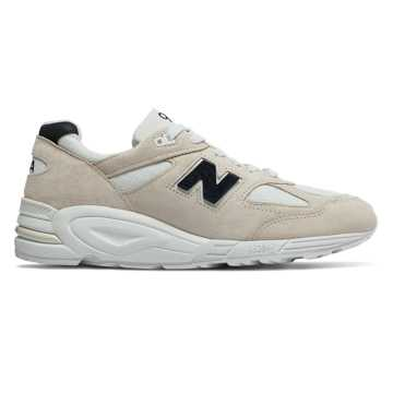 New Balance Mens 990v2 Made in US, Angora with White & Black
