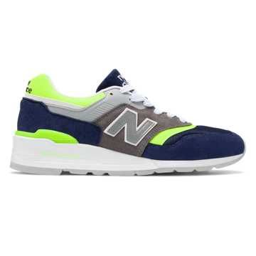 New Balance Made in US 997, Blue with Bleached Lime Glo
