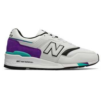 New Balance 997 Made in US, Light Grey Marl with Purple