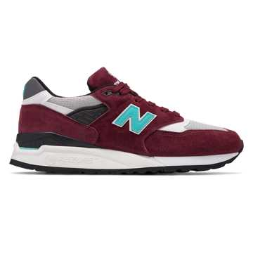 New Balance 998 Made in US, Burgundy with Blue