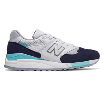 New Balance 998 Winter Peaks, White with Navy & Aqua