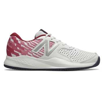 New Balance 696v3, White with Scarlet