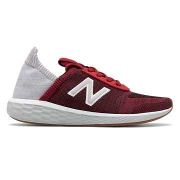 New Balance Men's Fresh Foam Cruz v2 Sock Made in US, NB Scarlet with Rain Cloud