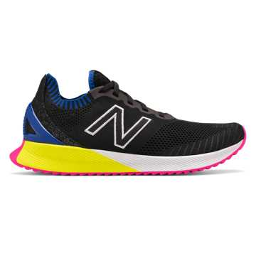 New Balance Men's FuelCell Echo, Black with UV Blue & Sulphur Yellow