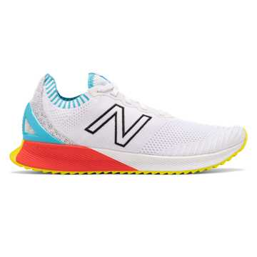 New Balance Men's FuelCell Echo, White with Bayside & Energy Red