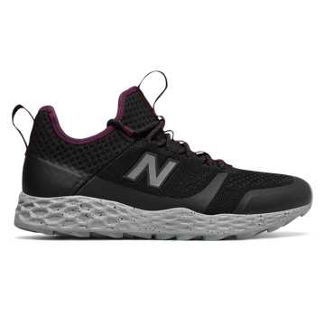 New Balance Fresh Foam Trailbuster, Black with Dark Mulberry