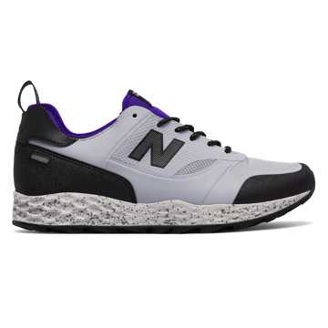 New Balance Fresh Foam Trailbuster, Light Grey with Black & Purple