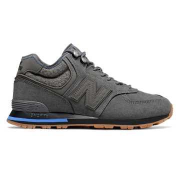 New Balance 574系列男款中帮复古休闲鞋, 深灰色