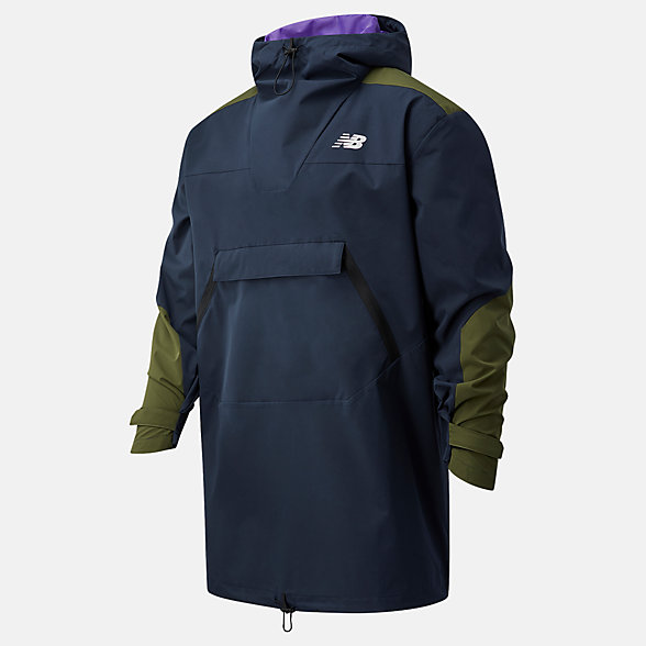 New Balance 男款拼接连帽梭织外套, MJ03046ECL