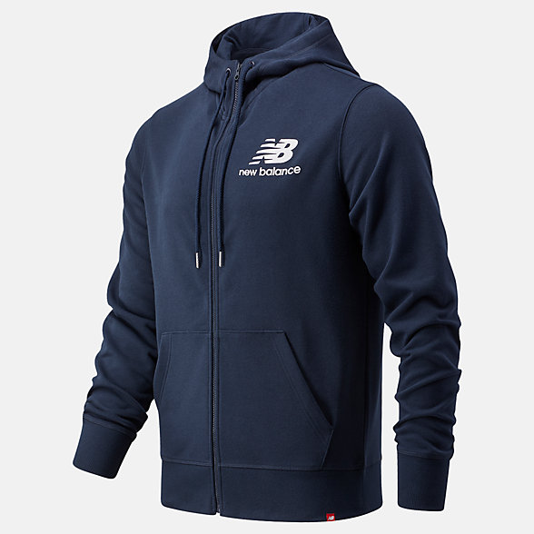 New Balance NB Essentials Stacked Full Zip Hoodie, MJ03558ECL