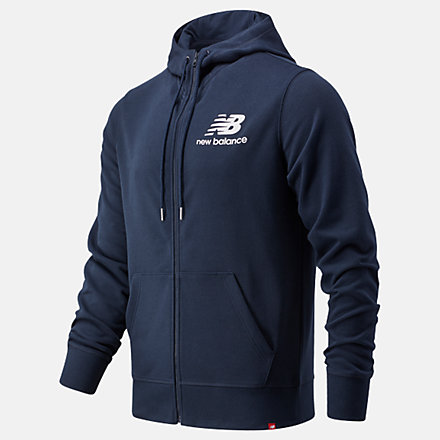New Balance NB Essentials Stacked Full Zip Hoodie, MJ03558ECL image number null