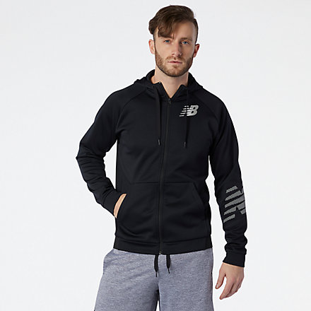 New Balance Tenacity Fleece Full Zip Hoodie, MJ11020BK image number null
