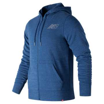 New Balance Heather Full Zip Hoodie, Lake Blue