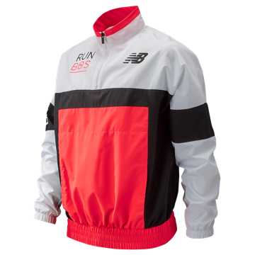 New Balance Boston NB Athletics Windbreaker Pullover, Bright Cherry with White & Black