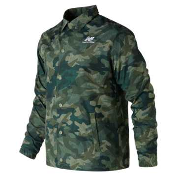 New Balance Classic Coaches Stacked Jacket, Mineral Green
