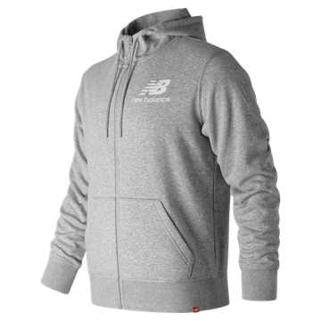 New Balance Essentials Stacked Logo Full Zip Hoodie, Athletic Grey