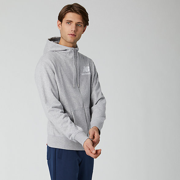 New Balance Essentials Stacked Logo Full Zip Hoodie, MJ91549AG