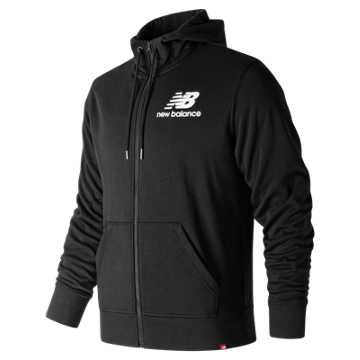 New Balance Essentials Stacked Logo Full Zip Hoodie, Black