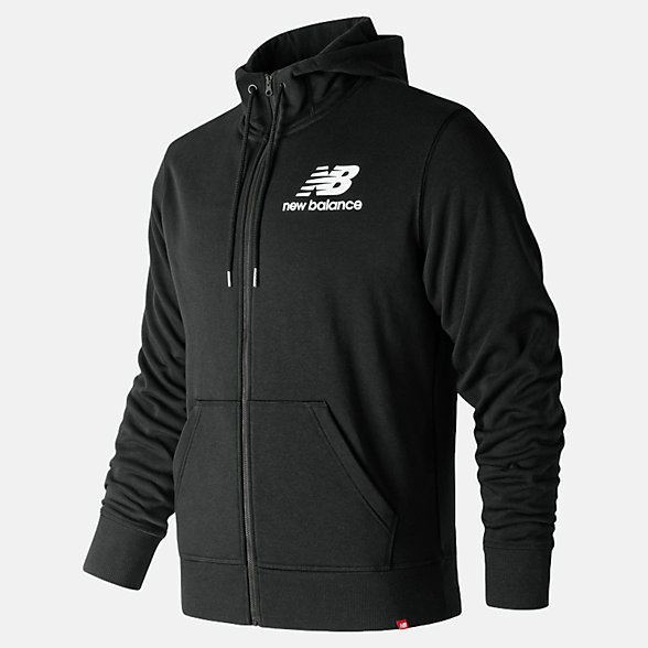 NB Essentials Stacked Logo Full Zip Hoodie, MJ91549BK