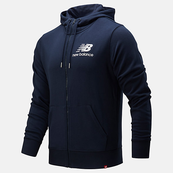 New Balance Essentials Stacked Logo Full Zip Hoodie, MJ91549ECL