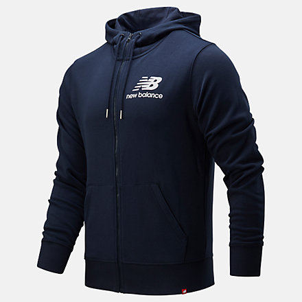 New Balance Essentials Stacked Logo Full Zip Hoodie, MJ91549ECL image number null