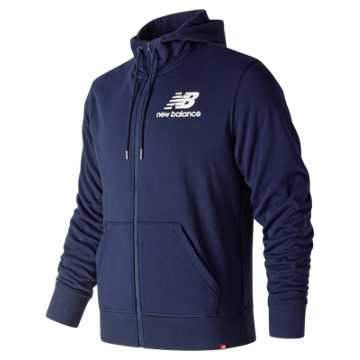 New Balance Essentials Stacked Logo Full Zip Hoodie, Pigment