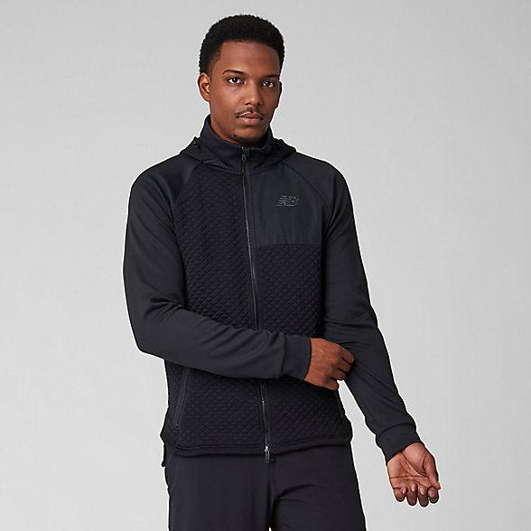 New Balance NB Heat Loft Full Zip Hooded Jacket, MJ93001BK