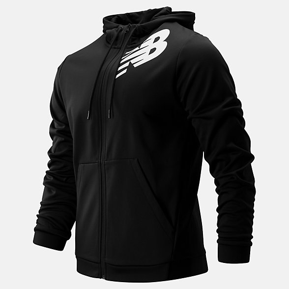 New Balance Tenacity Fleece Full Zip Hoodie, MJ93020BK