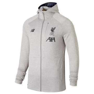 New Balance Liverpool FC Travel Full Zip Hoodie, Grey Marl