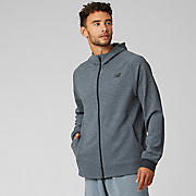 New Balance NB Basketball Finisher Full Zip, Athletic Grey with Black & White