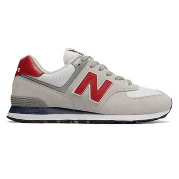 New Balance 574, White with Red