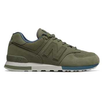 New Balance 574, Dark Covert Green with North Sea